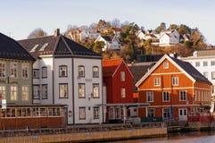 Bryggen byggnader i Arendal, Norge Royaltyfri Foto