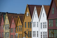 Bryggen, case della lega hanseatic Bergen - in Norvegia Immagini Stock Libere da Diritti