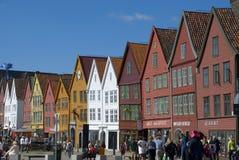 Bryggen, case della lega hanseatic Bergen - in Norvegia Fotografia Stock Libera da Diritti