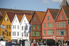 Bryggen, case della lega hanseatic Bergen - in Norvegia Immagini Stock