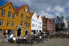 Bryggen, case della lega hanseatic Bergen - in Norvegia Immagine Stock