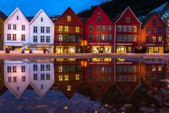 Reflection of Traditional Norwegian Houses at Bryggen in Bergen stock photography