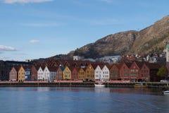 Bryggen gammal stad av Bergen, Norge royaltyfri bild