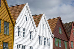 Bryggen, hanseatic league houses in Bergen - Norway. Bryggen, colorful hanseatic league houses of Bergen's landmark - Norway Stock Image