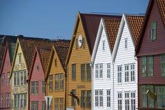 Bryggen, hanseatic ligahuizen in Bergen - Noorwegen Royalty-vrije Stock Afbeeldingen