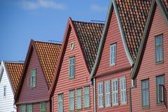 Bryggen, hanseatic ligahuizen in Bergen - Noorwegen Stock Fotografie