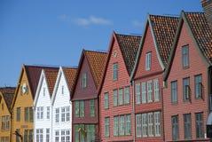 Bryggen, hanseatic ligahuizen in Bergen - Noorwegen Royalty-vrije Stock Afbeelding