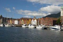 Bryggen, hanseatic ligahuizen in Bergen - Noorwegen Royalty-vrije Stock Foto's