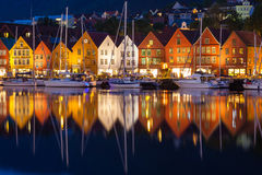 Bryggen Houses at Night. The famous Bryggen Hanseatic wharf houses at night in Bergen, Norway Stock Photo