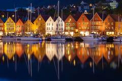 Bryggen Houses at Night Stock Photo