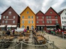 Bryggen i Bergen, Norge Royaltyfria Foton