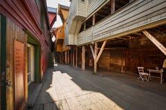 Bryggen i staden Bergen, Norge Arkivbild