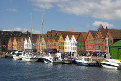Bryggen, maisons de ligue hanseatic à Bergen - en Norvège Photographie stock libre de droits