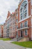 Bryggen nabrzeże, dom budował w Flamandzkim stylu Republika Mari El, Ola, Rosja 05/21/2016 Fotografia Royalty Free
