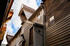 Bryggen. Old hanseatic buildings in Bryggen in the historical part of  Norwegian city, UNESCO World Heritage Site Stock Image