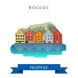 Bryggen in oriëntatiepunt van het de aantrekkelijkheidsgezicht van Noorwegen het historische vlakke vector stock illustratie