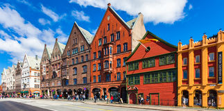 Bryggen Panorama Royalty Free Stock Images