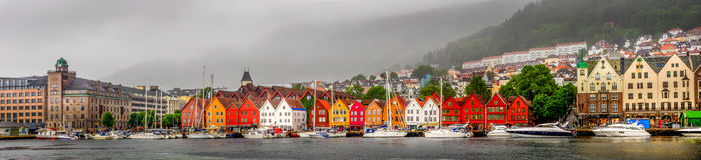 Bryggen in the rain panorama. Bryggen & x28;the dock& x29;, also known as Tyskebryggen & x28;Norwegian: [ˈtyskəˌbryɡːn̩], the German dock& x29;, is a Royalty Free Stock Photos