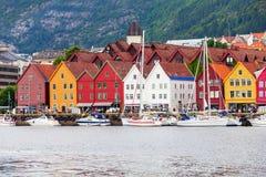 Bryggen dock in Bergen. Bryggen is a series commercial buildings at the Vagen harbour in Bergen, Norway Royalty Free Stock Photography