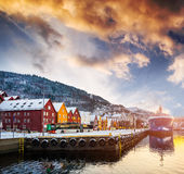 Bryggen street in the bay in Bergen, Norway. Amazing view on Bryggen street in the bay in Bergen at sunset, Norway Royalty Free Stock Images