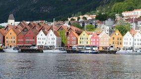 Bryggen street in Bergen Norway stock footage