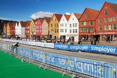 Bryggen during the 2017 UCI Road World Championships. Bergen, Norway - September 18, 2017: Bryggen during the 2017 UCI Road World Championships in Bergen, Norway Royalty Free Stock Image