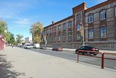 Bryggeribyggnaden på den Volzhsky avenyn samara Arkivfoto