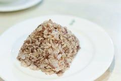Bryna lagade mat ris på en platta, sked på sidan; gör ren mat; honom Royaltyfria Bilder