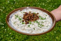 Bryndzove halusky - slovak national food stock image