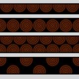 Bryner svärtar koncentriska cirklar in för australisk infödd geometrisk konst i apelsin och sömlösa gränser ställde, vektorn Royaltyfri Foto