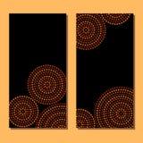 Bryner svärtar koncentriska cirklar för australisk infödd geometrisk konst i apelsin och, uppsättningen för två kort, vektor Arkivbild