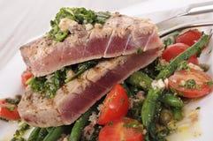 Brynt tonfiskbiff med bönor och tomatsallad Arkivbilder