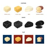 Brynza, smoked, colby jack, pepper jack.Different types of cheese set collection icons in cartoon,black,flat style. Vector symbol stock illustration Stock Photos