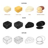 Brynza, smoked, colby jack, pepper jack.Different types of cheese set collection icons in cartoon,black,outline style. Vector symbol stock illustration Royalty Free Stock Photography