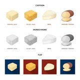 Brynza, smoked, colby jack, pepper jack.Different types of cheese set collection icons in cartoon,flat,monochrome style. Vector symbol stock illustration Royalty Free Stock Images