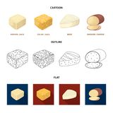 Brynza, smoked, colby jack, pepper jack.Different types of cheese set collection icons in cartoon,outline,flat style. Vector symbol stock illustration Royalty Free Stock Image