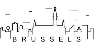 Bryssel översiktssymbol Kan användas för rengöringsduken, logoen, den mobila appen, UI, UX vektor illustrationer