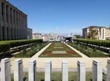 Bryssel/Belgien - Augusti 14 2017: Sikten från observationspunkten till parkerar Mont des-konster royaltyfria bilder