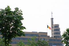 Bryssel Belgien - Juni 18 2018: Belgisk flagga bredvid byggnad, ställe Flagey fotografering för bildbyråer