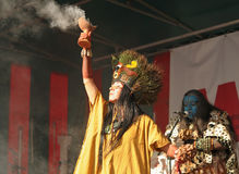 Mexicansk grupp Pueblo Maya de Xcaret Arkivfoto