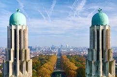 Bryssel - en sikt från nationell basilika av den sakrala hjärtan Arkivbild