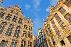 Bryssel - fasaden av slottarna på Grote marktfyrkant i aftonljus Arkivfoton