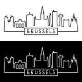 Bryssel horisont linjär stil Fotografering för Bildbyråer