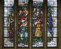 Bryssel - Jesus räddar den syndfulla kvinnan - i Basilica Arkivfoto