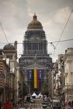 BRYSSEL - JULI 20: Slotten av rättvisa under förberedelser för den nationella dagen av Belgien Foto på Juli 20, 2017 i Bryssel Arkivbilder