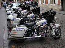 Bryssel - motorcykelpolisen Arkivbilder