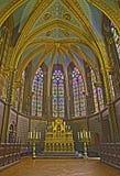 Bryssel - presbyteren av den gotiska kyrkliga Notren Dame de la Chapelle Fotografering för Bildbyråer