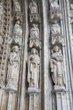 Bryssel - södra portal av Notre Dame du Sablon Arkivbilder