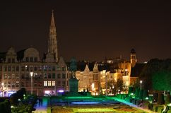 Bryssel sikter på natten Royaltyfria Foton