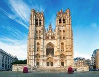 Bryssel - St Michael och domkyrka för St Gudula Royaltyfria Foton